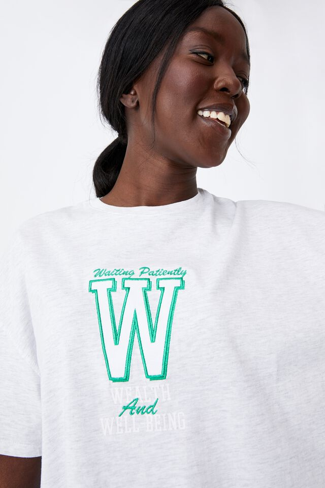 Super Relaxed Graphic Tee, SILVER MARLE/WEALTH WELLBEING
