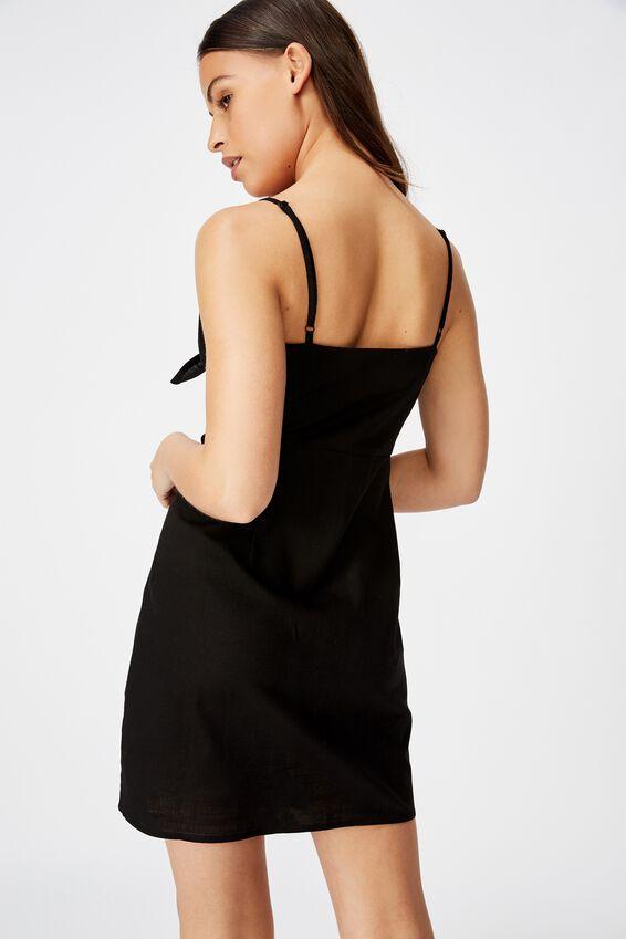 Tie Front Button Through Dress, BLACK