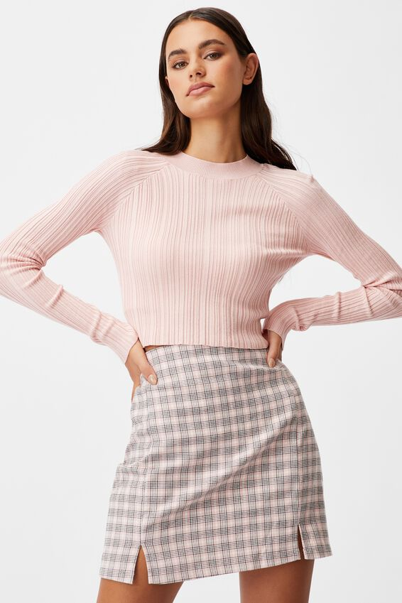 Double Split Mini Skirt, PARKER CHECK SILVER PINK