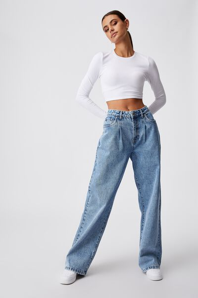 High Rise Baggy Jean, CLASSIC BLUE PLEAT