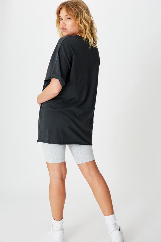 Oversized Graphic Tee, WASHED BLACK FAULTS EAGLE