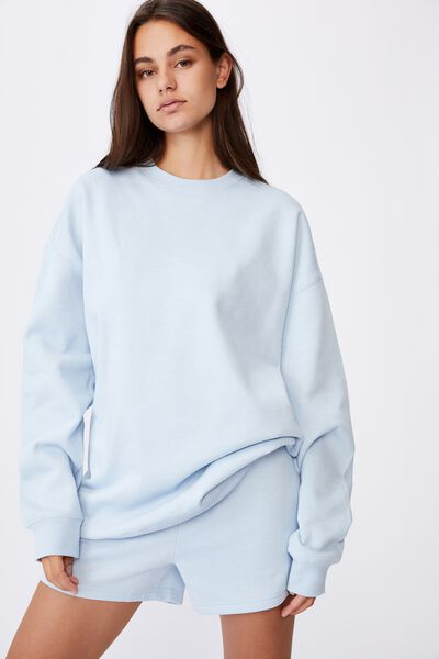 Oversized Crew Neck Sweater, SKYWAY BLUE