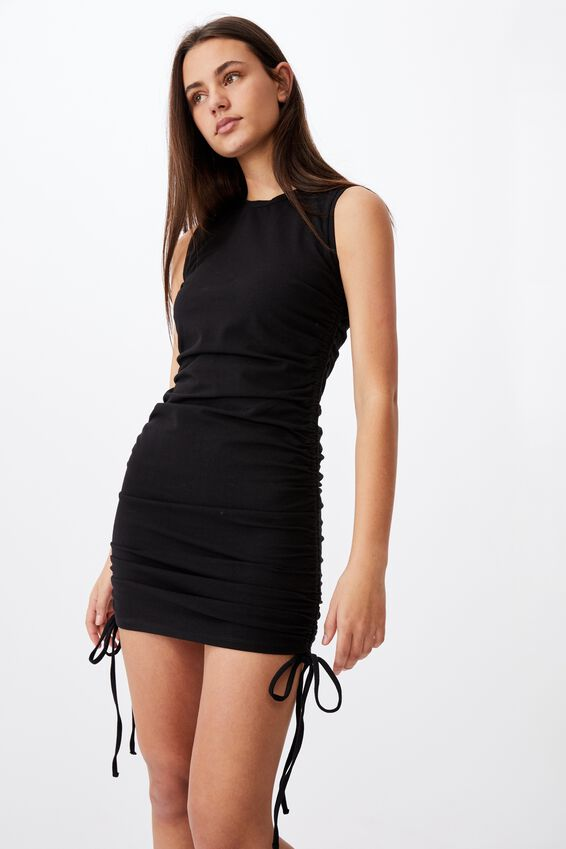Ruched Sleeveless Dress, BLACK