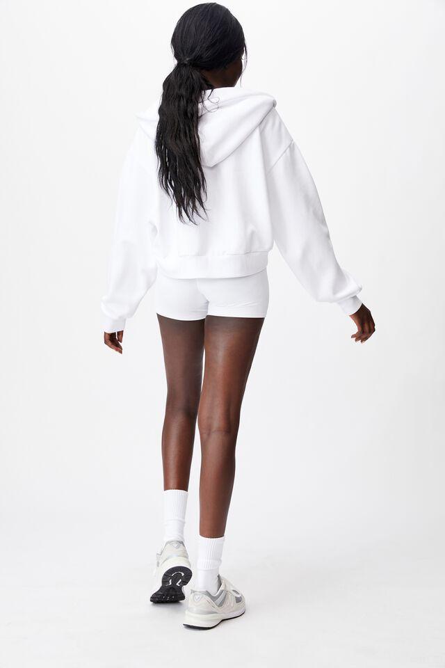 Oversized Zip Thru Hoodie, WHITE