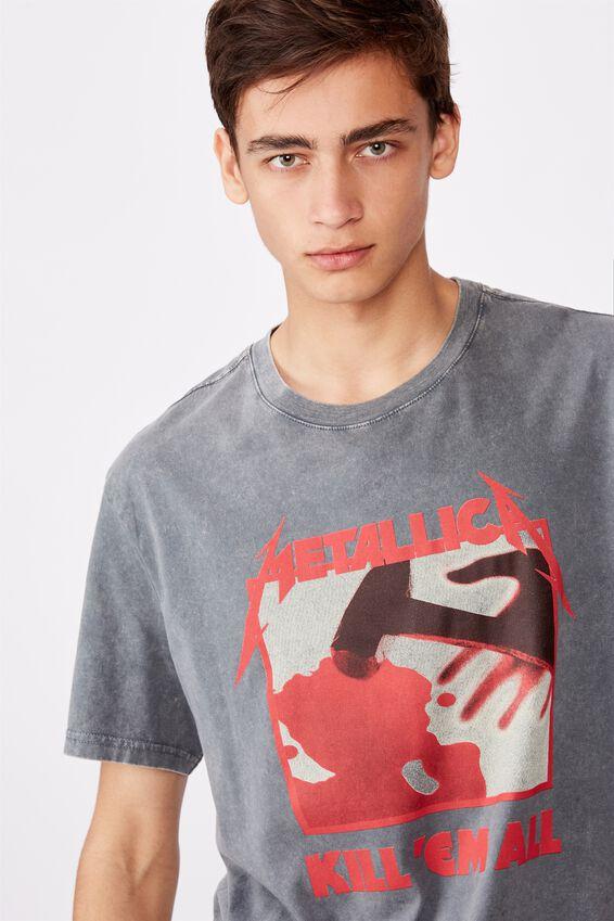 Regular License T Shirt, WASHED GREY/METALLICA