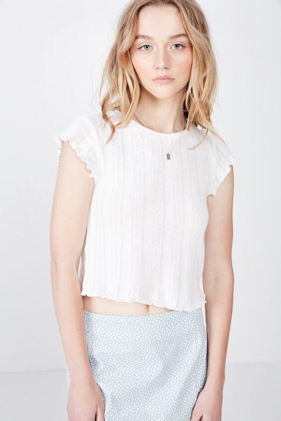 Short Sleeve Pointelle Top, WHITE