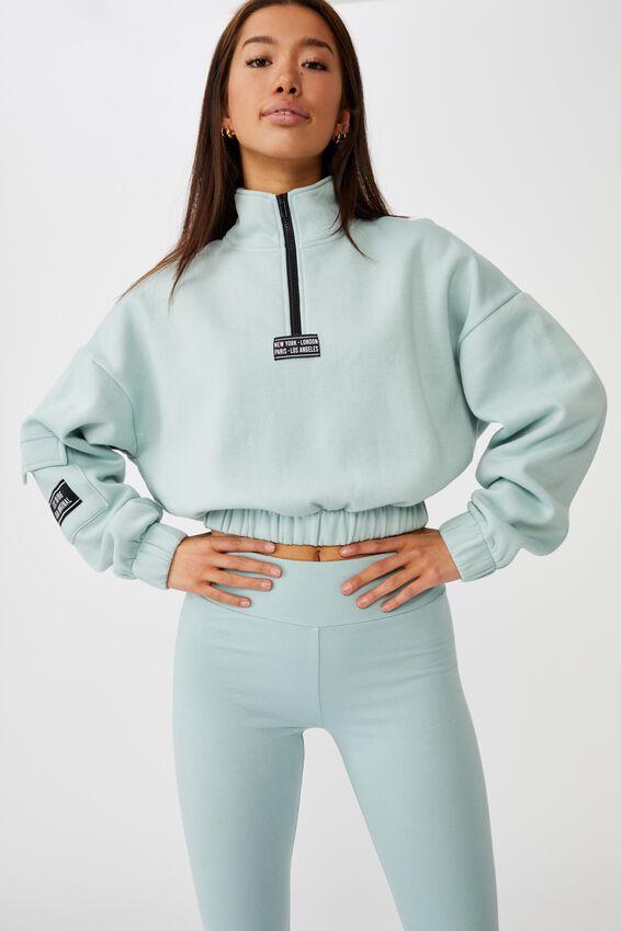 Qtr Zip Elastic Hem Fleece Top, ETHER/CITIES