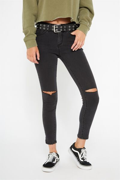 The Mid-Rise Skinny Jean, THRIFT BLACK_CROP WORN
