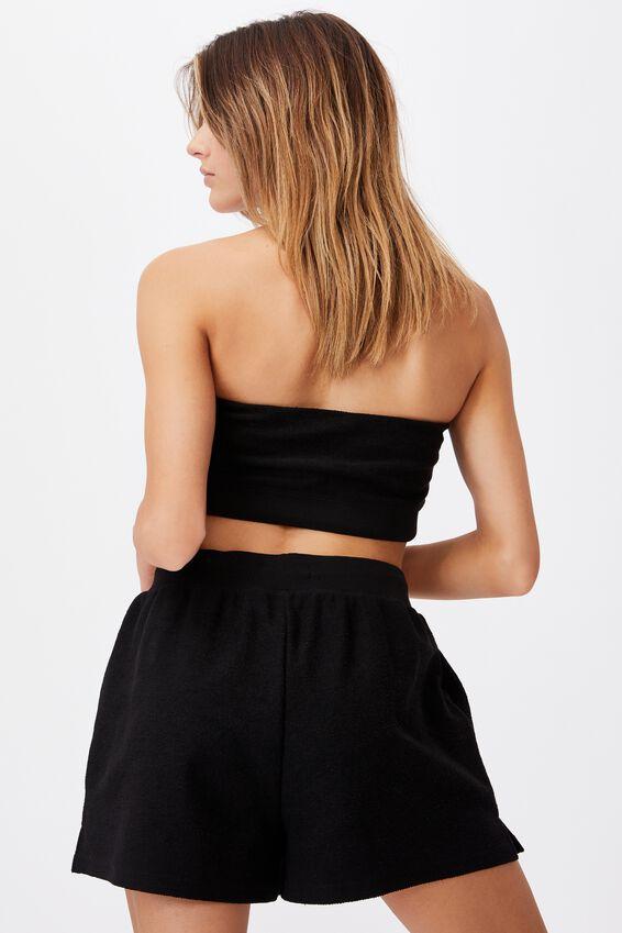 Reverse Fleece Short, BLACK