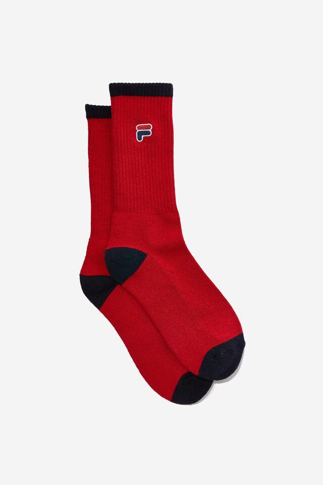 License Retro Rib Socks, RED/FILA ICON