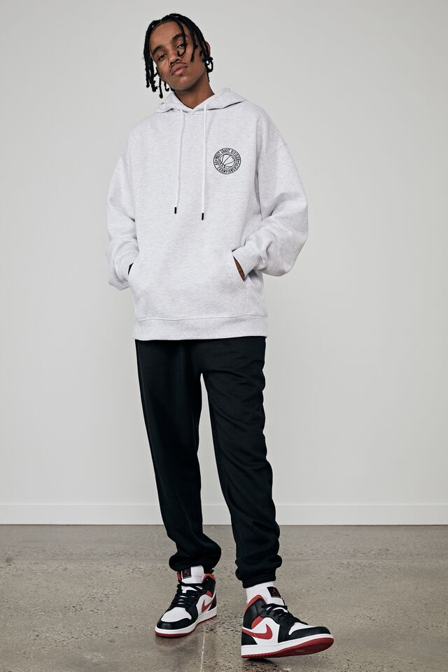 Oversized Graphic Hoodie, SILVER MARLE/WEST COAST