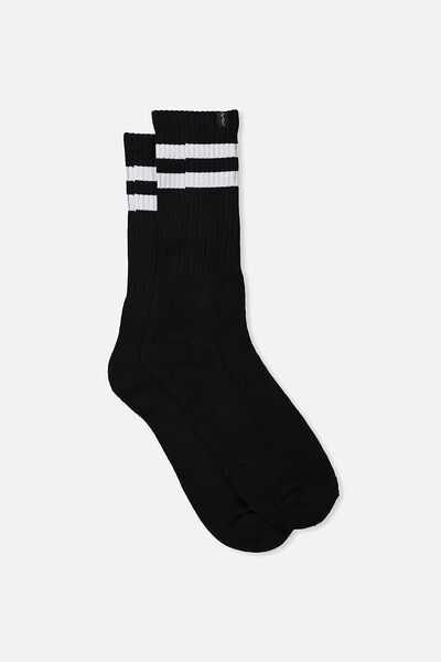 Retro Ribbed Socks, BLACK_WHITE STRIPE