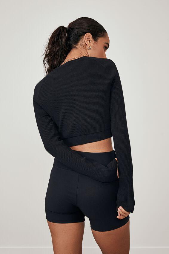 Long Sleeve Raglan Embroidered Rib Top, BLACK