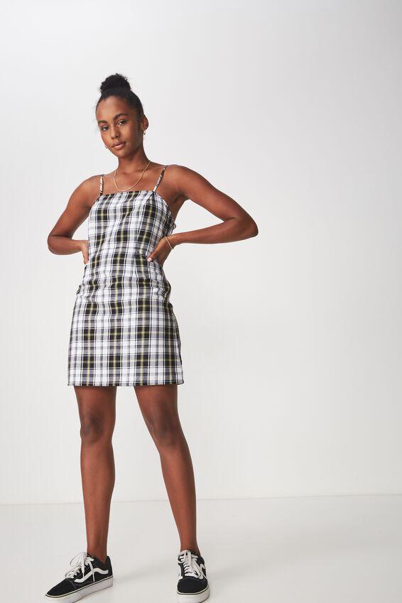 Waisted Slip Dress, SUBRINA CHECK