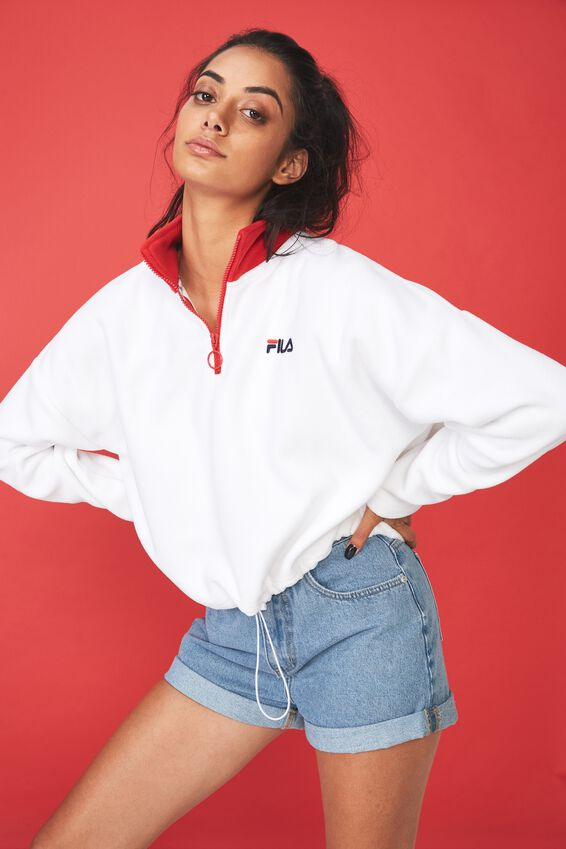 Fila Lcn Qtr Zip Funnel Neck Fleece, WHITE