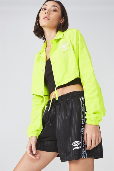 Umbro Lcn Cropped Coaches Jacket, ACID LIME