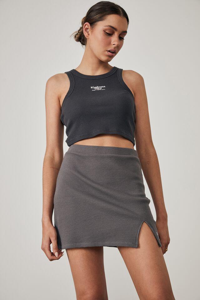 Side Split Mini Skirt, TORNADO_KINDNESS CLUB