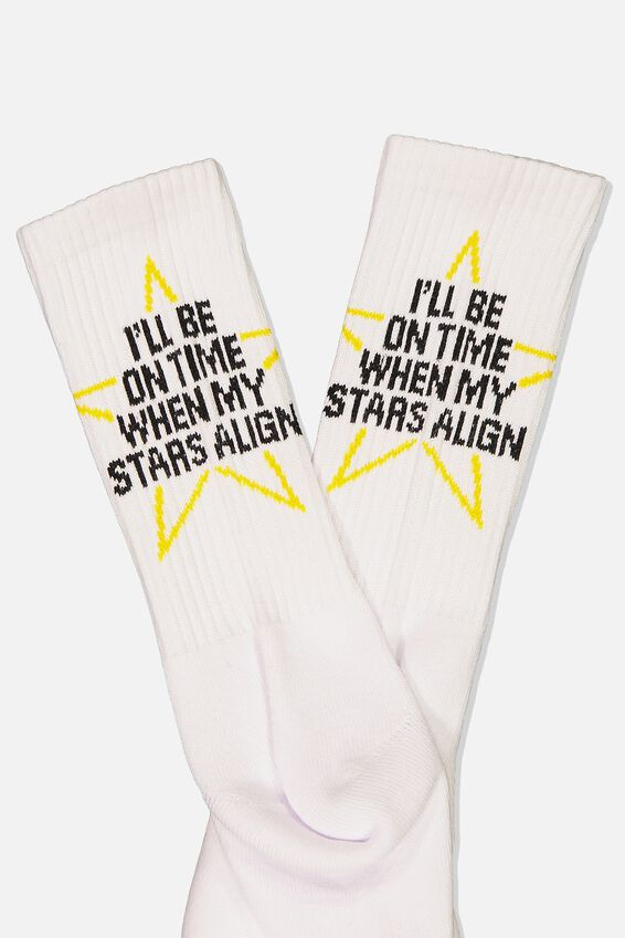 Retro Ribbed Socks, STARS_WHITE
