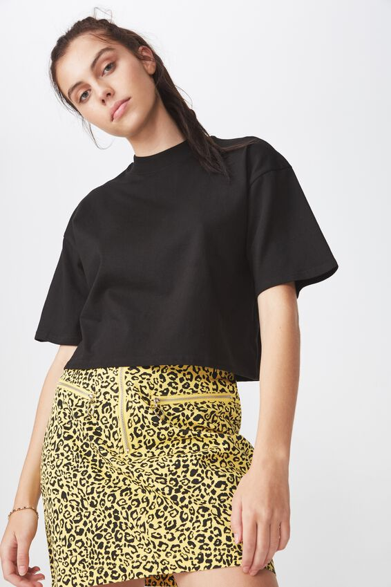 High Neck Boxy Crop Tshirt, BLACK