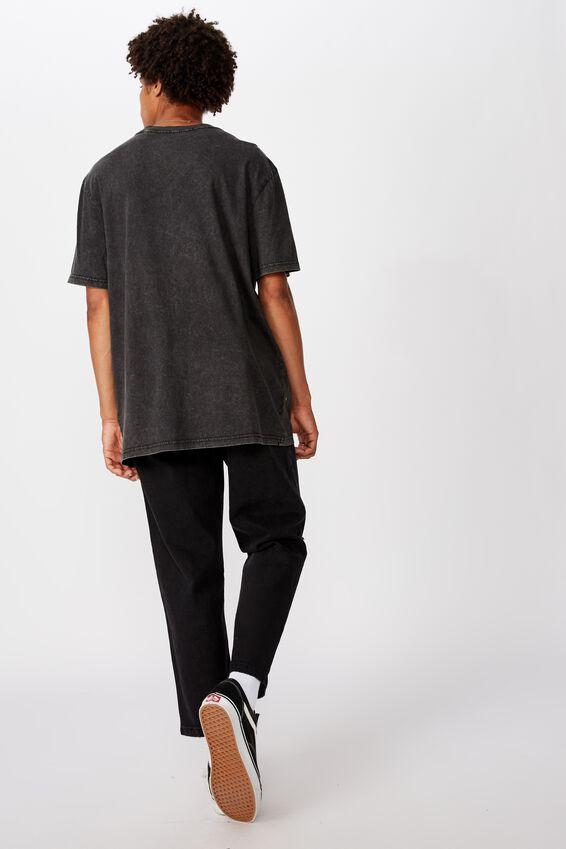 Regular Graphic T Shirt, WASHED BLACK/BORN FREE