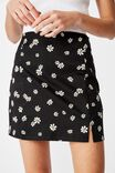 Double Split Mini Skirt, KAYLA DAISY _ BLACK
