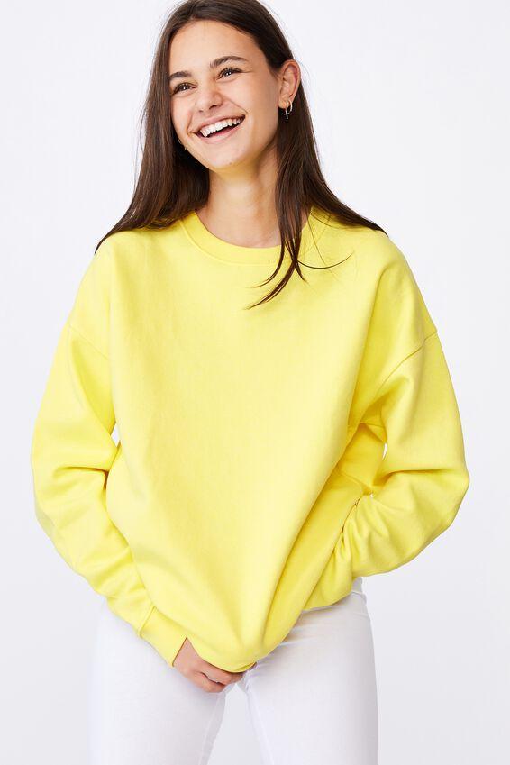 Oversized Crew Neck Sweater, LIMELIGHT