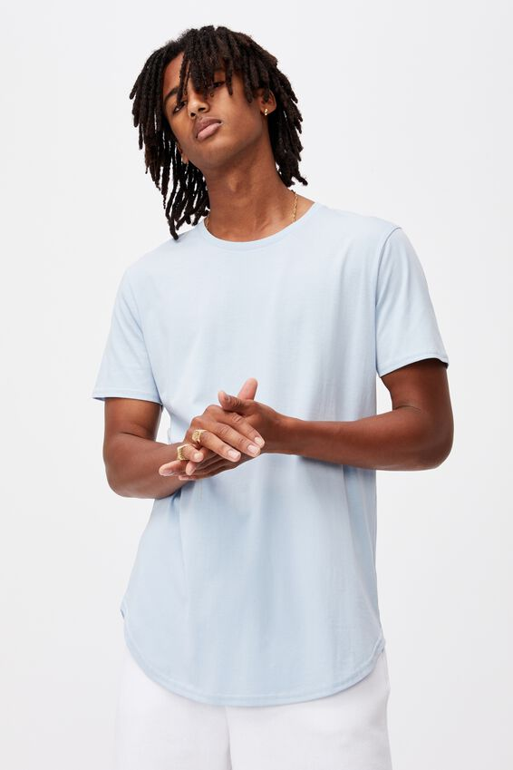 Curved T Shirt, CHAMBRAY BLUE
