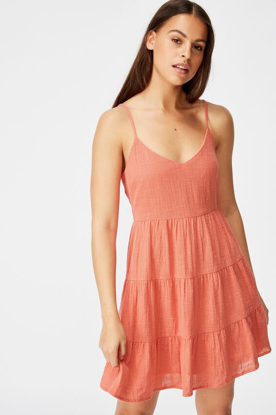 Textured Tiered Dress, SPICED CORAL