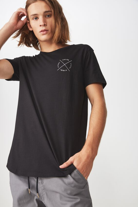 Curved Graphic T Shirt, BLACK/FALSE CROSS