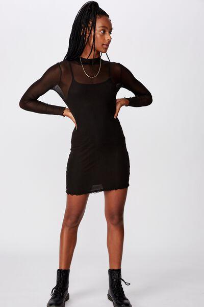 Mesh Ls Funnel Neck Dress, BLACK