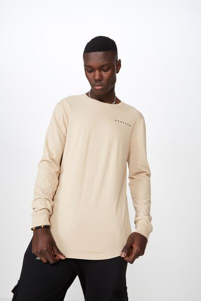Curved Long Sleeve Graphic T Shirt, ALMOND/LOST HORIZON