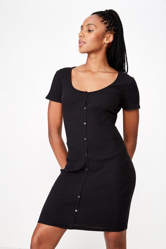 Button Thru Ss Rib Dress, BLACK