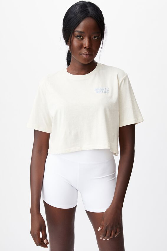 Short Sleeve Crop Graphic T Shirt, IVORY/BEAUTY AND CHAOS