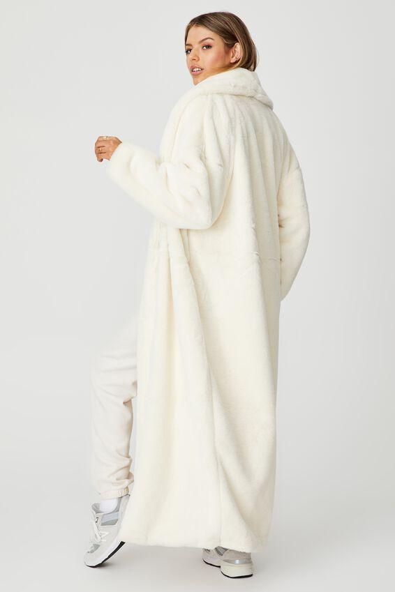 Longline Faux Fur Jacket, IVORY
