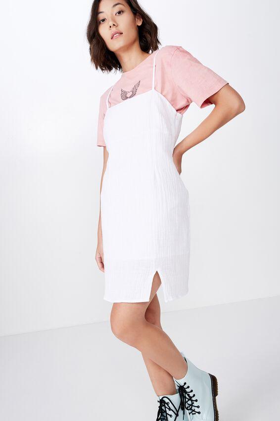 Textured Split Mini Dress, WHITE