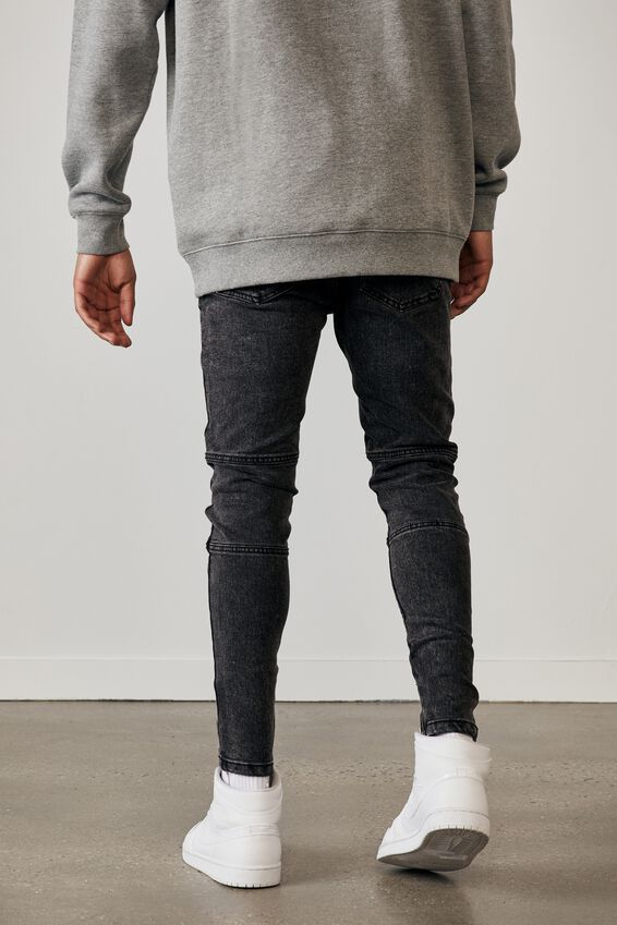 Zip Panel Super Skinny Jean, BLACK ACID WASH