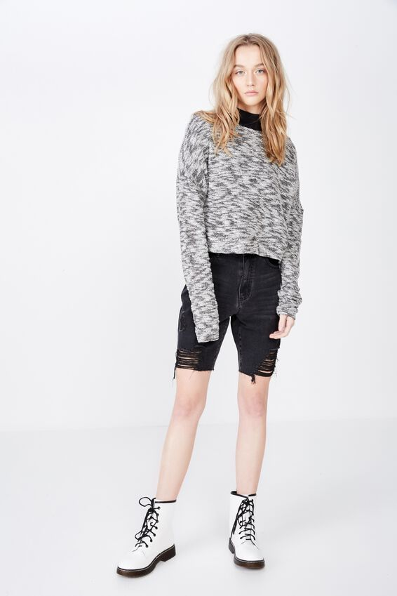 Long Sleeve Textured Crop Pullover, BLACK/WHITE
