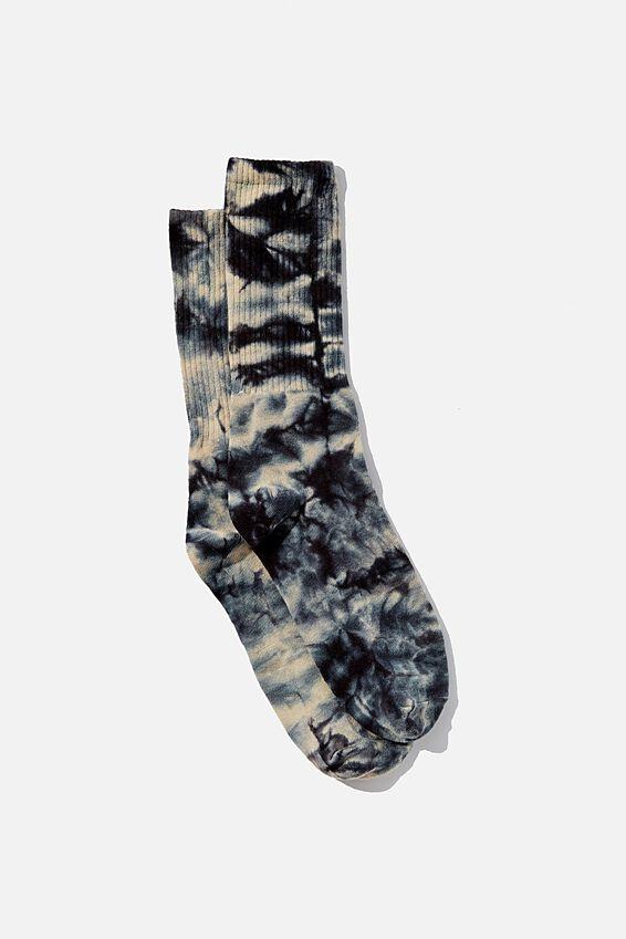 Retro Ribbed Socks, DAWN BLACK TIE DYE