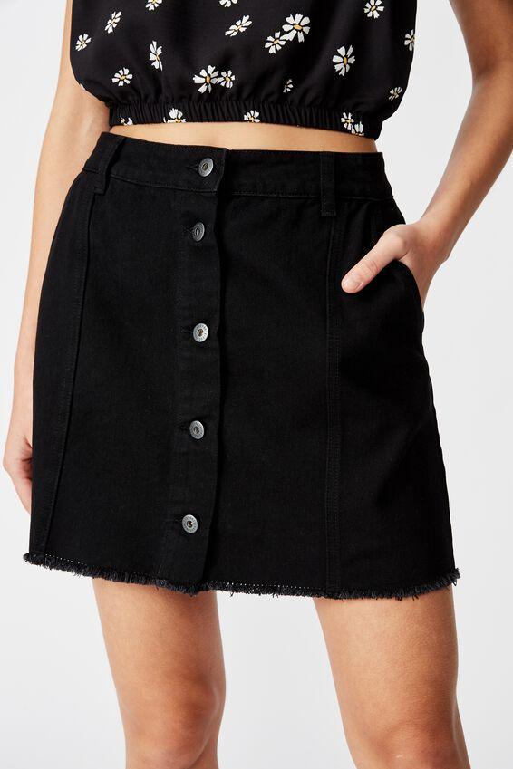 Button Thru Denim Skirt, BLACK