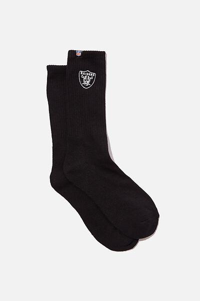 License Retro Rib Socks, BLACK_RAIDERS EMB