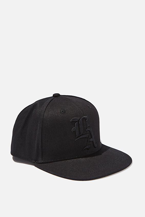 Flat Peak Cap, BLACK_LA