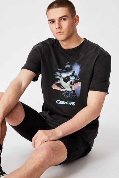 Regular License T Shirt, WASHED BLACK/GREMLINS