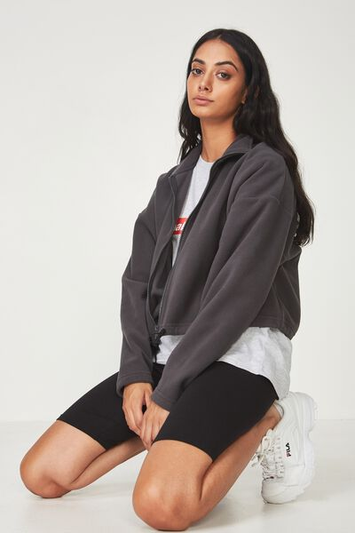 Crop Zip Thru Polar Fleece Jacket, ASPHALT