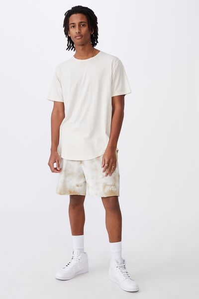 Longline Curved Washed T Shirt, IVORY
