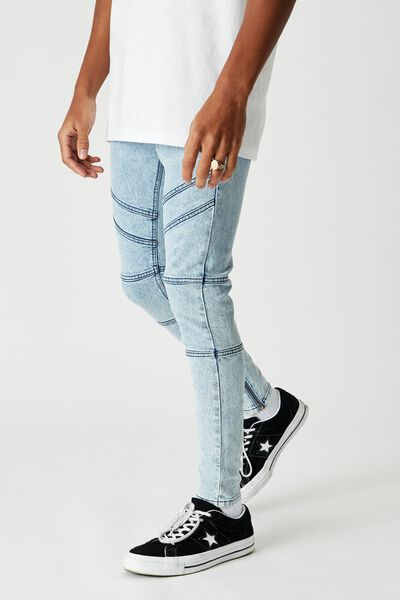 Zip Panel Super Skinny Jean, PALE ACID BLUE