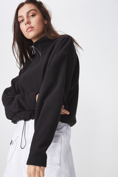 Crop Qtr Zip Polar Fleece, BLACK