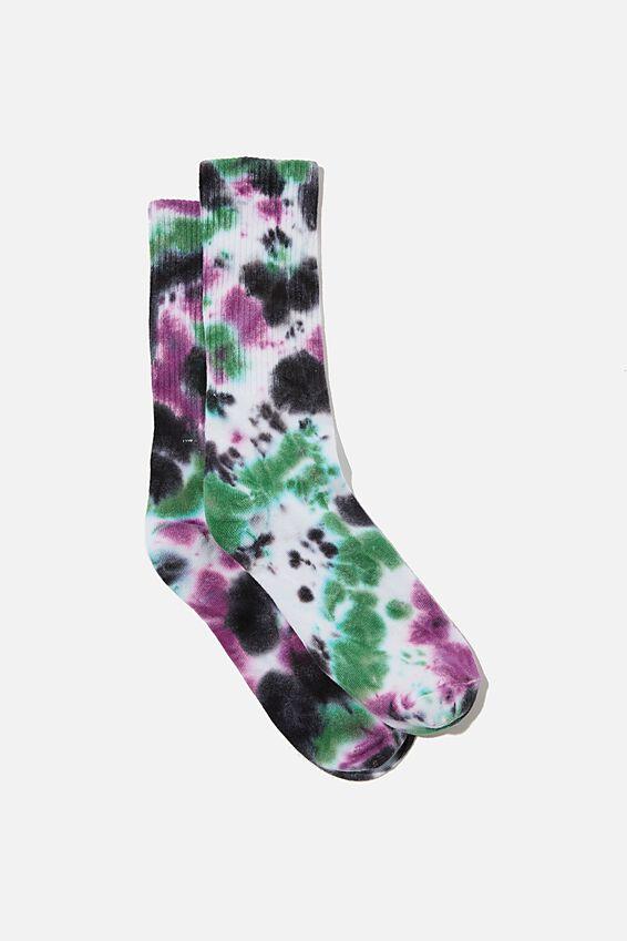 Retro Ribbed Socks, TRIPLE TIE DYE BLACK MINT PURPLE