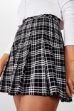 Pleated Skirt, BLK/WHITE CHECK