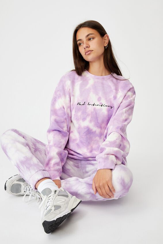 Oversized Graphic Crew, ORCHID BLOOM TIE DYE/BAD INTENTIONS