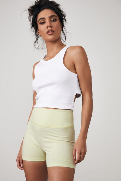 Cheeky High Waisted Printed Bike Short, PISTACHIO/RULES APPLY